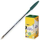 Ручка шариковая неавтоматическая масляная BIC Cristal зеленая (толщина линии 0.4 мм)